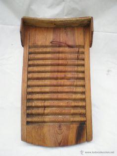 ANTIGUA TABLA DE LAVAR A MANO, DE MADERA, MEDIDAS: 65 X 38 Y 35 X 5 CM. (Antigüedades - Técnicas - Rústicas - Utensilios del Hogar - Tablas de lavar Antiguas)