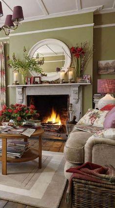 Country Cottage Living Room, Home Living Room, Living Room Designs, Living Room Decor, Living Spaces, Cottage Style, Laura Ashley Living Room, Laura Ashley Home, Snug Room
