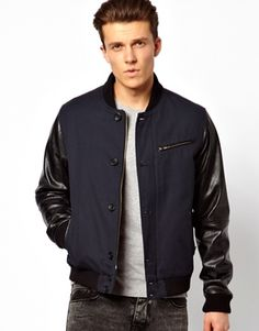 ASOS Bomber Jacket With Faux Leather Sleeve