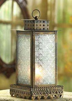 "Kyoto Candle Elegant Bronze Finish Lantern in Metal N Glass 11"" High | eBay"