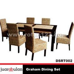 Graham Dining Set Meja Makan Rotan Alami DSRT002