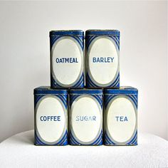 Who needs a tin just for barley?et of Five Deco Tin Kitchen Canisters, Made in Germany, 1920s, $165