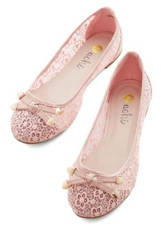 Painting the Roses Pink Flat. You look perfectly splendid in these light, dusty rose lace flats as you skip along with the children you nanny to Alices Tea Cup Cafe. #pink #weddingNaN