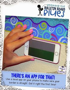 Beating The Bulletin Board Blues – Linda Kamp-Around The Kampfire Beating The Bulletin Board Blues Time Saving Tips for Beating the Bulletin Board Blues! Use a level app to hang straight borders. No more climbing up and down to check! Classroom Design, Future Classroom, School Classroom, Kindergarten Classroom, Music Classroom, Back To School Bulletin Boards, Classroom Bulletin Boards, Classroom Ideas, Classroom Resources