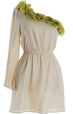 Play the part of a Greek goddess in a decadently-embellished silky frock. Features a gorgeous one-shoulder design with a long tailored sleeve to the right, pretty lime green roses blossoming along the neckline in a perfect arrangement, easy elastic waist for a custom fit, and a slightly flared skirt to finish.