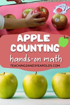 Add some simple hands-on math to your fall curriculum with these preschool apple counting activities. A fun collection for home or school! #fall #autumn #apples #math #counting #printables #preschool #3yearolds #4yearolds #teaching2and3yearolds