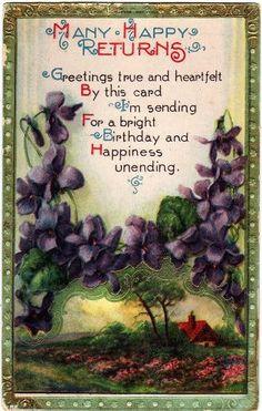 Many Happy Returns (vintage birthday greetings postcard)