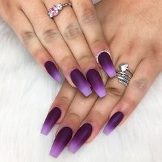 Cool Nails Color Combos For Your Amazing Ombre Mani ❤ Deep Purple And Lilac Combos picture 1 ❤ To save you from the embarrassment of wearing on your nails something out of date, we have gathered here all the freshest color combinations to pull off and stay on the top! https://naildesignsjournal.com/cool-nails-color-combos/ #nails #nailart #naildesign #ombrenails
