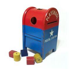 Vintage 1950s - 1960s Playskool Postal Station Toy Mailbox with Blocks