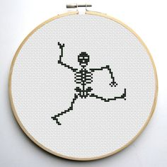 Halloween Cross stitch pattern Dancing Skeletons Instant