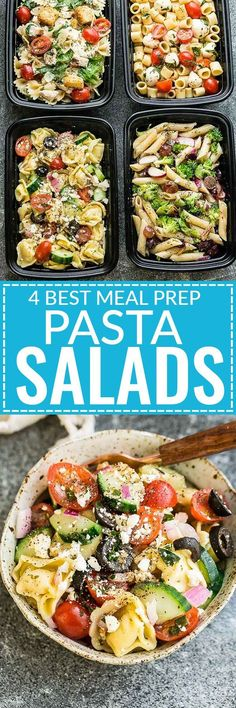 4 Favorite Classic Pasta Salads that are perfect for taking along to summer potlucks, picnics and parties. Great for Sunday Meal Prep as well. Caprese, Chicken Caesar, Greek Tortellini and Broccoli Pasta Salad. by graciela Best Meal Prep, Sunday Meal Prep, Lunch Meal Prep, Meal Prep Bowls, Meal Prep For The Week, Healthy Meal Prep, Meal Prep Salads, Weekly Meal Prep, Food Meal Prep
