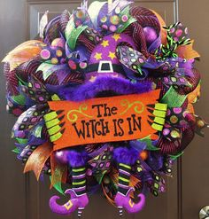 Halloween Deco Mesh Wreath Witch Deco Mesh by FestivalofWreaths Halloween Door Wreaths, Halloween Deco Mesh, Halloween Ribbon, Halloween Magic, Halloween Signs, Diy Halloween Decorations, Thanksgiving Decorations, Halloween Crafts, Halloween Trivia