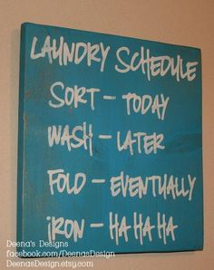 Laundry Schedule, Laundry Room Decor, Laundry Sign, Distressed Wood Signs, Wood…