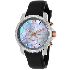 Swiss Legend Legasea Diamond Multi-Function Black Silicone Grey MOP... ($180) ❤ liked on Polyvore featuring jewelry, watches, black, logo watches, rose crown, rose watches, buckle watches and black watches