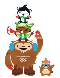 Vancouver 2010 Winter Olympic Mascots Quatchi, Miga, Sumi and MukMuk