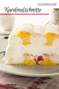 The cardinal cuts is a popular dessert of Viennese cuisine and tastes good. Torta Angel, Austrian Recipes, Dream Cake, Relleno, Vanilla Cake, Biscuits, Cake Decorating, Ice Cream, Pudding