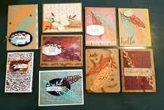 Oct 18 Susan Lanier Feather Cards, Stampin Up Paper Pumpkin, Masculine Cards, Autumn Inspiration, Stamping Up, Craft Kits, Cardmaking, Card Ideas, Christmas Cards