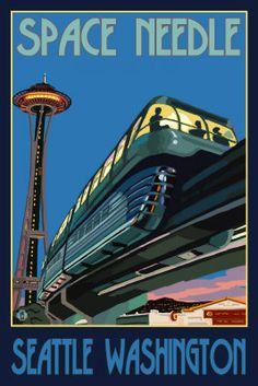 Space Needle and Monorail Seattle WA Travel Poster - Aaron Morris
