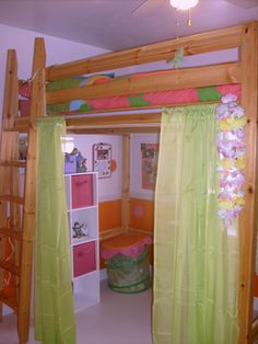 IKEA wood loft bed Love this set up....curtains on tension rods...everything is so cute!