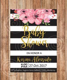 Invitación Baby Shower, Flowers, Kate Spade, Flores, Rosa, Negro. de DettaglioDC en Etsy