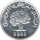1 Millim #Tunisia - 1999-2000 Rappresenta un grande albero di ulivo.