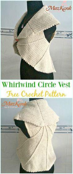 Crochet Whirlwind Circle Vest Free Pattern - #Crochet; Circle #Vest; & Sweater Jacket Cardigan Free Patterns