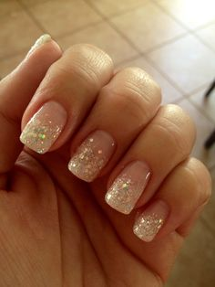 Glitter natural nails. Conservative and pretty.