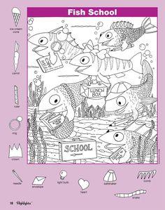 Fish school Hidden Picture Games, Hidden Picture Puzzles, Craft Activities For Kids, Christmas Activities, Kindergarten Activities, Hidden Images, Hidden Pictures, Early Childhood Activities, Indoor Games For Kids