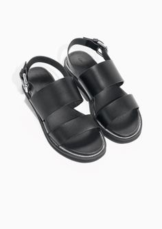 & Other Stories image 2 of Raw Edge Leather Sandals in Black