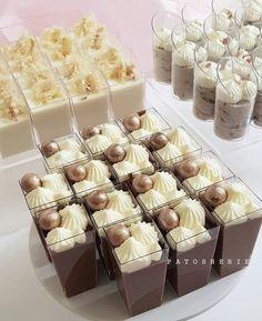 Cute Desserts, Wedding Desserts, Chocolate Desserts, Dessert Recipes, Dessert Buffet, Dessert Bars, Mini Dessert Cups, Dessert Shooters, Wedding Reception Food