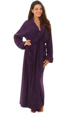 7b9f00bbf9 Women`s Luxurious Terry Cotton Full Length Bathrobe Robe