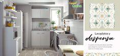 Lavaplatos y despensa. Cuando se trata de ideas sencillas que optimizan el espacio de tu cocina. Para cocinas funcionales. Ideas Sencillas, Kitchen Cabinets, Table, Furniture, Home Decor, Functional Kitchen, Butler Pantry, Simple, Space
