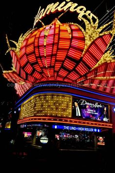 Flamingo hotel neon signs at night Las Vegas America photo picture poster print