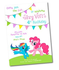 My little Pony Birthday Invitation por CrystalScottDesigns en Etsy