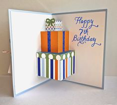 Pop-up of a tier of presents inside balloon birthday card.