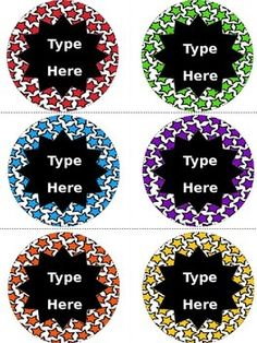 Editable Star Round Labels contains 6 blank star themed labels.