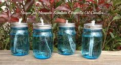 Mason Jar Mosquito Repellant Citronella Oil Candles  Keep those pesky things off me!!   Needed: Mason Jars, Citronella Oil, Wicks ... Directions: Drill hole in jar lid of Mason Jar, thread wick through hole, fill with Citronella Oil, allow wick to absorb oil for a couple minutes. The wick should only extend about a ¼ inch.  Share to save to your timeline:)  FOLLOW me on Facebook, I am always posting AWESOME stuff!: https://www.facebook.com/lbrickett   To Purchase Skinny Fiber: ...