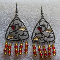 Brass yellow and red bead earrings Antique look by Shimmeria Antique Earrings, Bead Earrings, Brass, Stone, Yellow, Antiques, Projects, Red, Handmade