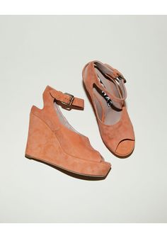 Rochas /  Suede Platform Wedge Sandal