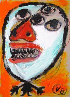 """""""Veo cómo me dibujaste"""" de Victoria Barranco @  - VirtualGallery.com Pintura acrílica sobre cartón de 37,5x52 cm (14.8x20.5 in). Arte marginal. Niño. (2015)-"""