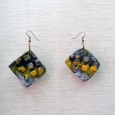 Polymer Clay earrings, Creen earrings, Square earrings, Boho earrings, Exotic earrings, Handmade earrings, one of a kind, OOAK,