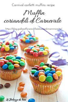 MUFFIN CORIANDOLI - Carnival confetti muffins #muffin #muffinrecipe #ricetta #recipe #carnevale #carnival #confetti #coriandoli #cioccolato #nutella #dolce #dessert #pastry #bimby #thermomix #colori Candy Melts, Muffins, Cupcakes, Biscotti, Cannoli, Bon Appetit, Cereal, Carnival, Food And Drink