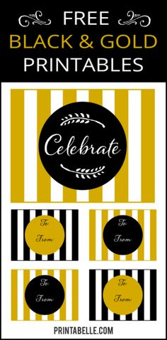 Gold and Black Party Free Printables and more! – Free Party Printables at Printabelle