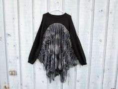Gothic Raw Tattered Sweater Tunic Top// Upcycled// Altered Clothing// XL 1X 2X Plus Sizes// Fall Winter// Black Gray// emmevielle