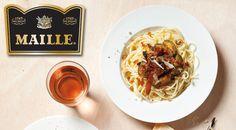 Spaghetti met courgette, mosterd, walnoten, tomatenpuree, knoflook, pecorino en Spaanse ham Pasta, Spaghetti Squash, Foodies, Cooking, Ethnic Recipes, Inspiration, Zucchini, Kitchen, Biblical Inspiration
