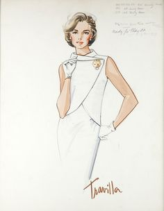 Travilla sketch for the television movie Jacqueline Bouvier Kennedy (ABC, The costume sketch is for actress Jaclyn Smith Vintage Fashion Sketches, Illustration Mode, Fashion Illustration Sketches, 70s Fashion, Fashion History, Fashion Art, Fashion Hacks, Winter Fashion, Fashion Outfits