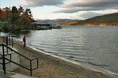 Shepard's Park Beach in Lake George, NY...I can still see the kids swimming with their lips turning blue!  It's really just melted ice.
