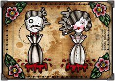 Vintage Umbrella Couple Tattoo Flash Print Sheet by VorssaInk, €14.00