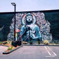 Buddha graffiti on wall 3d Street Art, Amazing Street Art, Street Art Graffiti, Graffiti Wall Art, Mural Art, Arte Tribal, Art Hoe, Art Inspo, Art Photography
