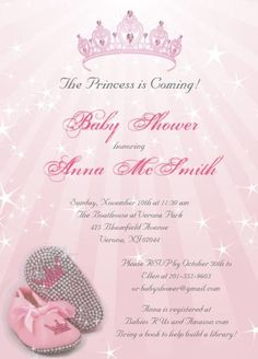 princess theme baby shower invitations